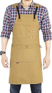 HOLANTON Shop Apron with 9 Tool Pockets Woodworking for Unisex Multifunctional Denim Smock Adjustable M to XXXL(BEIGE)