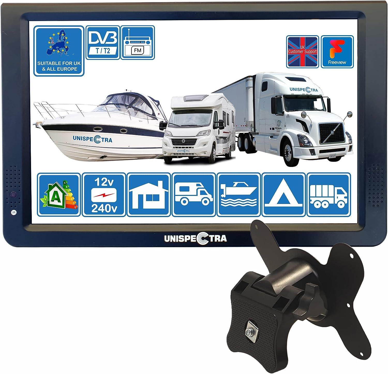 Camper Caravan Bateau 12 pouces LED TV numérique HD DVB-T2 pour la télévision gratuite Dans Toute l'Europe PVR USB 12V 240V et lecteur multimédia, CCTV HDMI par Unispectra® (TV+Soporte de Pared)