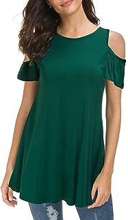 Afibi Women Loose Casual Cold Shoulder Tunic Tops Short Sleeve Basic Blouse Shirts