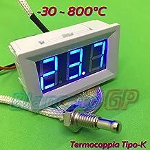 Termómetro -30 ~ 800 °C marco blanco sonda termopar tipo K 12 V DC LED azul