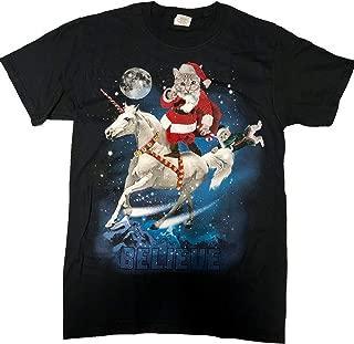 Mens Kitty Cat Santa Riding Unicorn Believe T-Shirt