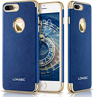 LOHASIC iPhone 7 Plus Case, Premium Leather Slim Fit Protective Cover Luxury Non Slip Soft Grip Hybrid Flexible Bumper Shockproof Cases Compatible with iPhone 7 Plus - Ink Blue, 5.5