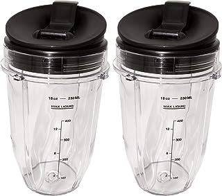 Blendin 2 Pack Small 18 Ounce Cup with Sip N Seal Flip Lids, Fits Nutri Ninja Auto-iQ 1000w Series Blenders (Renewed)