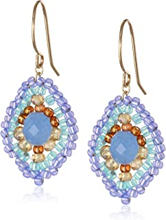 Miguel Ases Blue Quartz and Topaz Hydro Lotus Drop Earrings, 1.4""