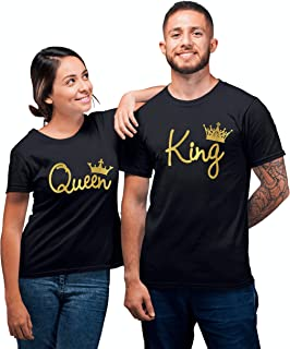 King Queen Gold Fashion Crowns Couple Matching T-Shirts | King and Queen Gold Crowns T Shirts