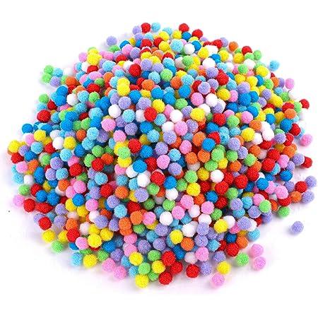 1cm Craft Pompons Multicolores Rondes,2000pcs pour Enfant Artisanat Fabrication et Loisirs Fournitures DIY Creative Décorations by Earthsafe