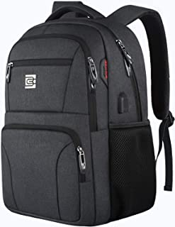 Laptop Backpack,Business Travel Slim Durable Anti Theft Laptops Backpack with USB Charging Port,Water Resistant College Backpack for Women & Men Fits 15.6 Inch Laptop and Notebook - Black