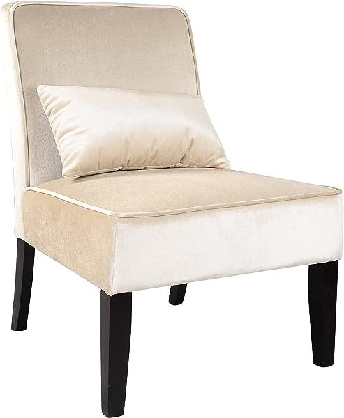 CorLiving LAD 411 C Antonio Lounge Chair In Soft Cream Velvet