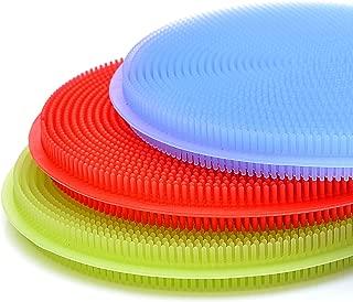 食品*硅胶厨房海绵和清洁布 – 适用于洗碗、清洁、洗涤水果的完美硅胶海绵 – 可在洗碗机中清洗,拒绝/耐用 – 包括重型刮刀 – (6 件装)