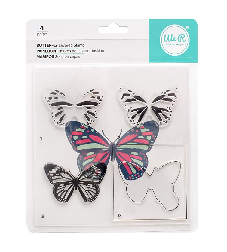 American Crafts We R Memory Keepers CMYK Layered Stamp Set Butterfly 4 Piece