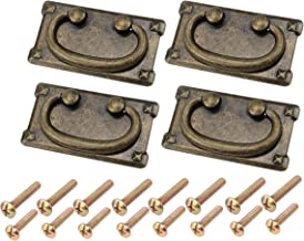 Vintage lade trekgrepen, antiek messing rechthoek drop ring pull handgrepen voor kast lade kast - zinklegering (95x52mm), ...