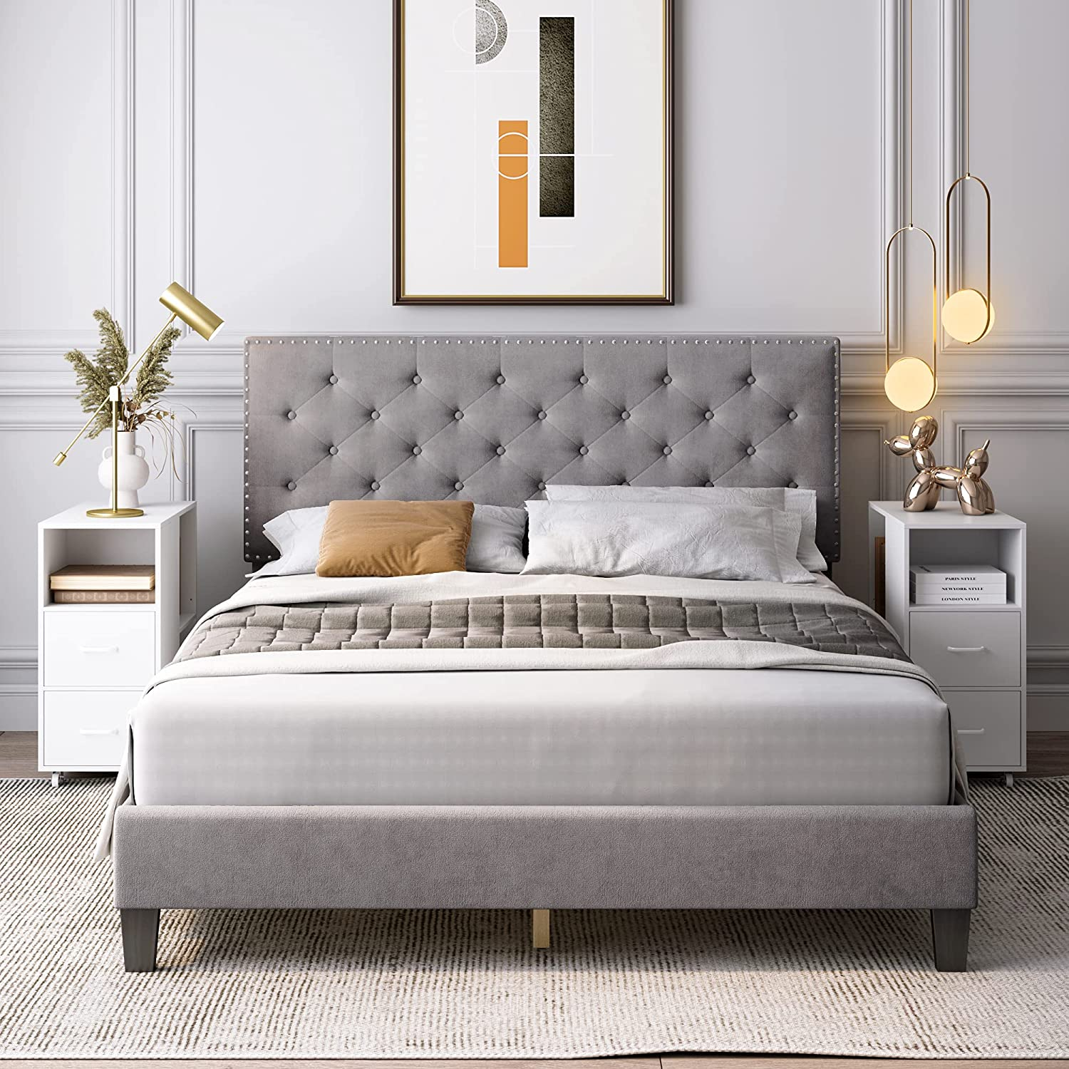 Full Bed Frame, Upholstered Platform Bed Frame with Adjustable Headboard, Button Tufted Mattress Foundation with Sturdy Wood Slat Support, No Box Spring Required, Easy Assembly (Grey, Full)
