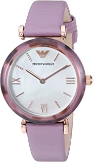 Emporio Armani Women's Gianni T-Bar Stainless Steel Analog-Quartz Watch with Leather Calfskin Strap, Purple, 14 (Model: AR11003