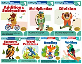Kumon Grade 3 Complete Set (7 Workbooks) - Addition&Subtraction, Multiplication, Division, Geometry&Measurement, Word Problems, Reading, Writing