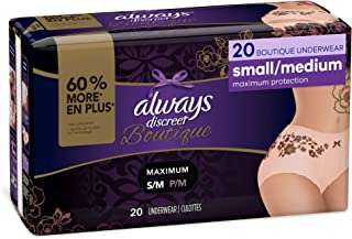 Always Discreet Boutique Incontinence & Postpartum Underwear for Women, Peach, Small/Medium, 20 Count, Maximum Protection,...