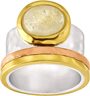 Metallic Mix' Natural Citrine Ring in Sterling Silver, Brass, Copper