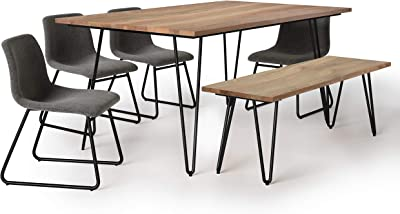 Simpli Home Ridley SOLID HARDWOOD and Metal 66 inchWide Mid Century Modern III 6 Pc Dining Set with Bench, 4 Upholstered Dining Chairs in Grey