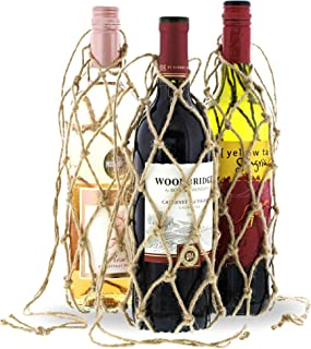 Bright Creations Jute Wine Bottle Net Carrier Holder (3 Pack)