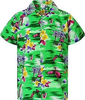 King Kameha Hawaiian Shirt for Men Funky Casual Button Down Very Loud Shortsleeve Unisex Flamingos