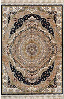 Yilong 5.6'x8' Handmade Silk Rug Classic Isfahan Medallion Design Handwoven Home Carpet 1563