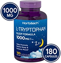 Horbaach L-Tryptophan 1000mg 180 Capsules   Extra Strength   Non-GMO and Gluten Free Supplement