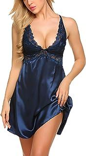 Avidlove Women Lace Babydoll Lingerie Satin Chemise Nightgown V Neck Sleepwear Nighty