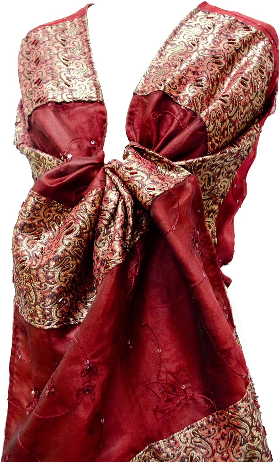 Beaded Emb Brocade Silk Organza Stole Wrap Shawl Table Runner Fringe Red gold