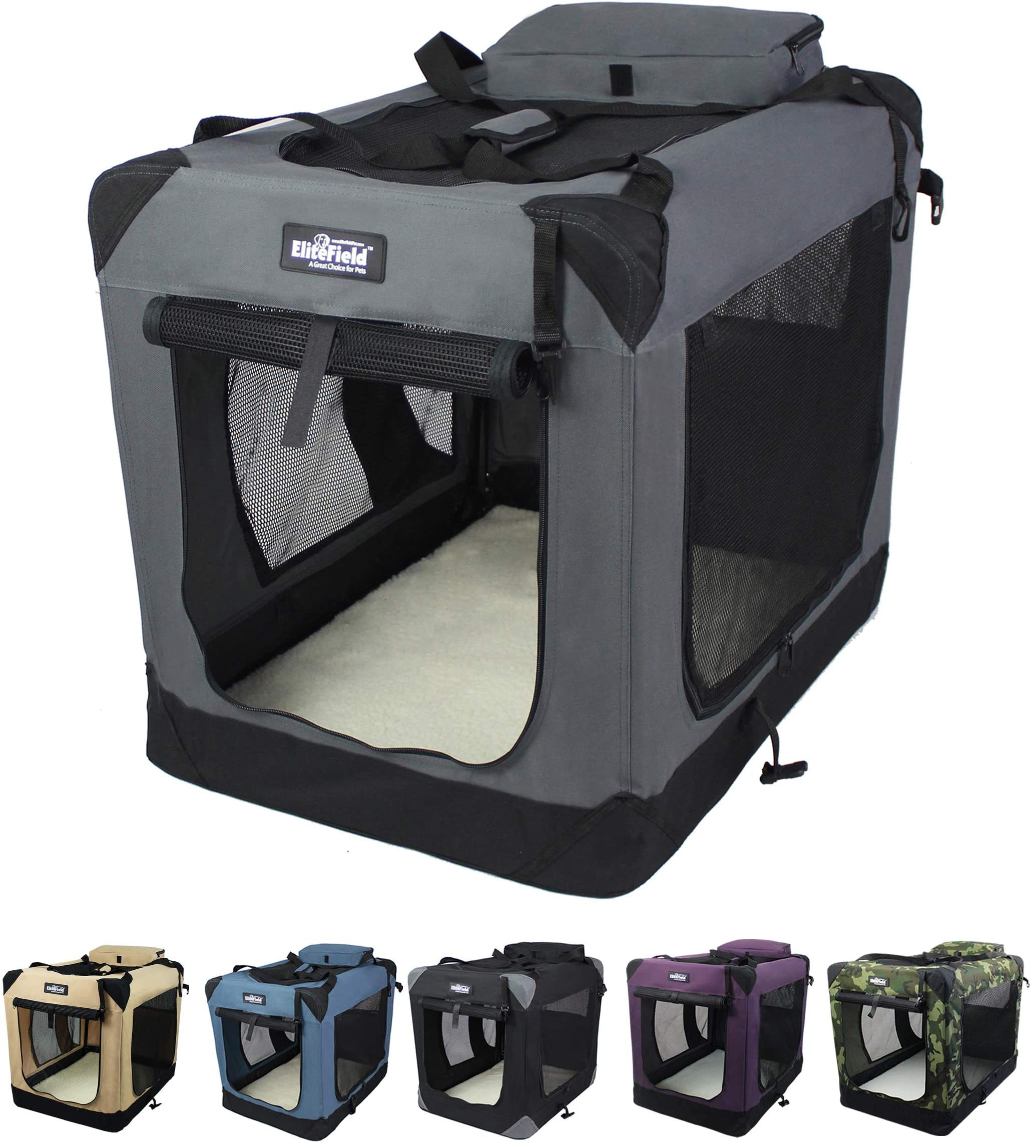"""EliteField 3-Door Folding Soft Dog Crate, Indoor & Outdoor Pet Home, Multiple Sizes and Colors Available (42"""" L x 28"""" W x 32"""" H, Gray)"""