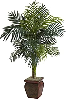 Nearly Natural 5937 4.5ft. Golden Cane Palm with Decorative Container,Green,4.5-Feet
