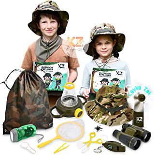 Kayka Zak Kids Adventure Kit, Outdoor Explorer & Bug Catcher with Binoculars, Flashlight, Magnifier, Fan, Butterfly Net, E...