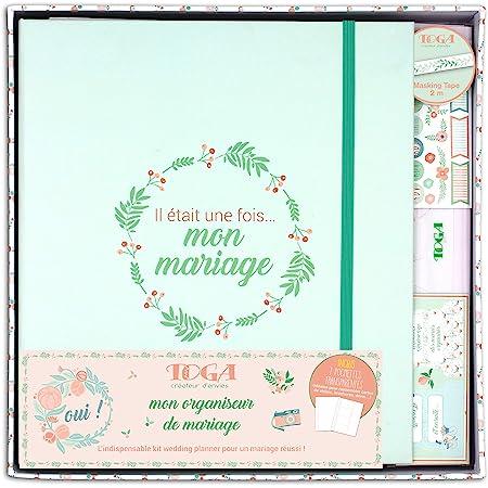 DRAEGER PARIS 1886 Fleuri Kit de Papèterie - Mon organiseur de Mariage, Papier, Vert/Saumon, non applicable