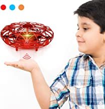 $27 » Hand Operated Drones for Kids & Adults, Balhvit Super Fun & Easy Hands Free Mini Drone Helicopter (2 Speed & LED Light), Indoor Flying Ball Toys Gifts for 6 7 8 9 10 Years Old Boys & Girls - Red