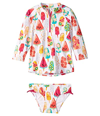 Hatley Kids Fruity Popsicles Rashguard Set (Toddler/Little Kids/Big Kids) (White) Girl