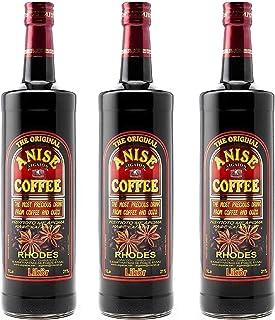 3x 1,0l Kaffee Ouzo Likör 21% | Das Original von Rhodos | Coffee Anise Aigaion |  1 x 20ml OlivenölElaioGi aus Griechenland