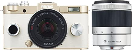 Pentax Q System Q-S1 12.4MP Double zoom kit with 5-15mm f/2.8-4.5 and 06 TELEPHOTO ZOOM (Gold)