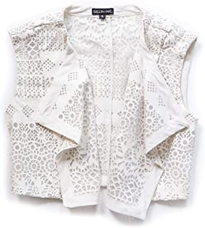 Sillin Inc. Girls Laurel Vest Laser Cut Ivory Vegan Leather. Look for it in Mom's Size Too
