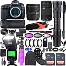 Canon EOS 5D Mark IV DSLR Camera Kit with Canon 24-70mm f/4L is USM & 75-300mm Lenses + 420-800mm Telephoto Zoom Lens + Ba...