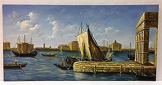 Dipinto a olio su tela di pittore europeo,soggetto Approdo a Venezia, cm 60 x 120