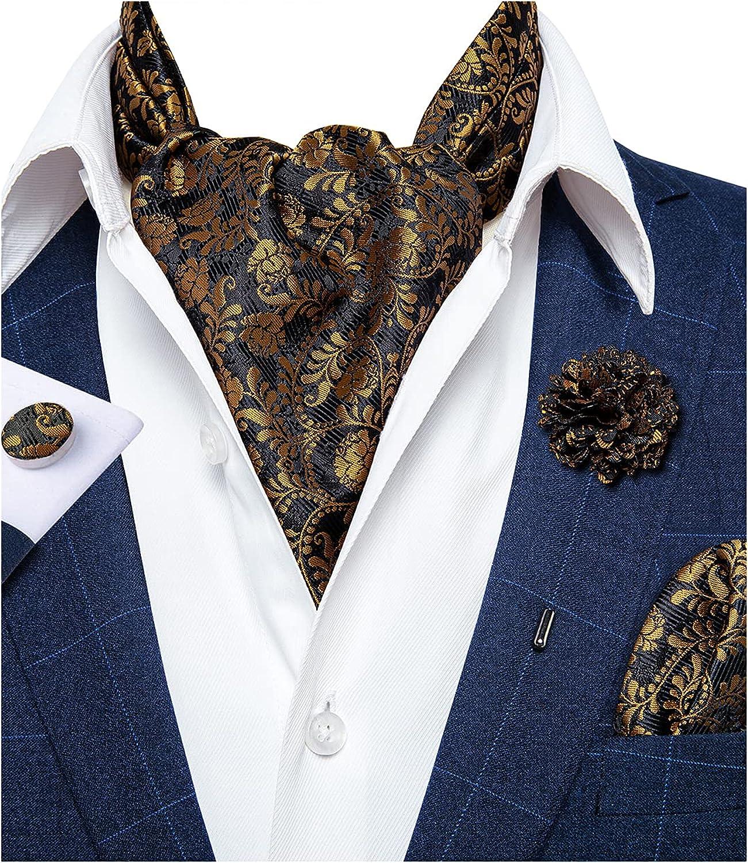 DiBanGu 4 PCS Ascot Ties for Men,Jacquard Cravat Ascot Tie Pocket Square Cufflinks with Floral Lapel Pin