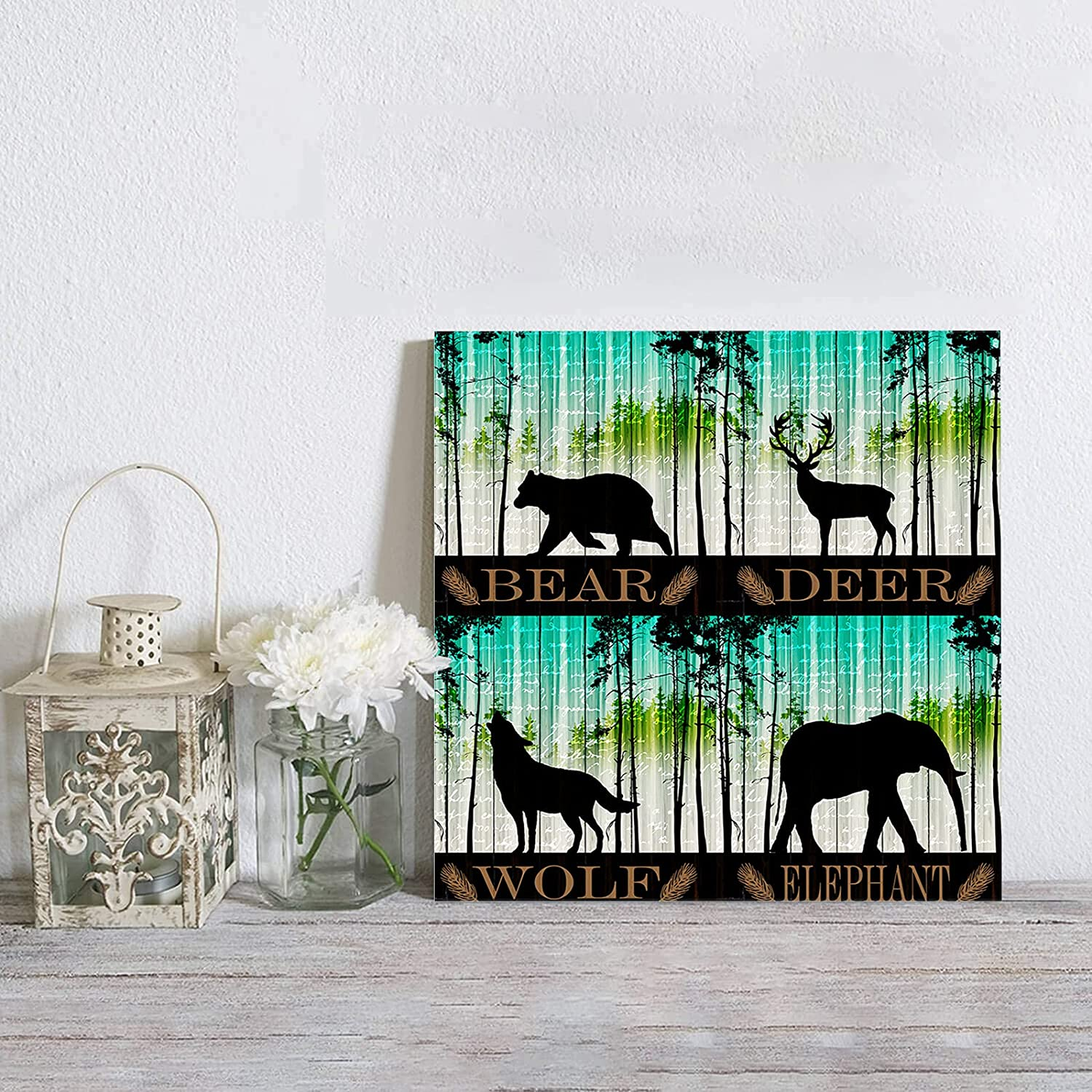 Canvas Wall Low price High order Art Forest Animal Bear Pine Wolf N Reindeer Elephant
