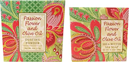 Greenwich Bay Trading Co. Passion Flower and Olive Oil Shea Butter Soap and Dusting Powder Gift Set