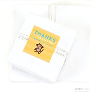 Andaz Press Jungle Safari Adventure Birthday Collection, Thanks For Monkeying Around with Us Yellow Square Gift Labels, 40-Pack