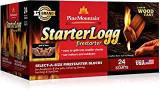 Pine Mountain StarterLogg Select-A-Size Firestarting Blocks, 24 Starts Firestarter Wood..