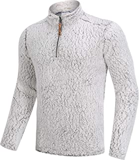 Men's Winter 1/4 Zip Fuzzy Sherpa Pullover Sweater Ultra Soft Fleece Jacket with Pockets