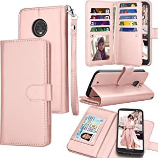 Tekcoo Compatible for Motorola Moto G6 Wallet Case / 2018 Moto G6 PU Leather Case, Luxury ID Credit Card Slots Holder [Rose Gold] Carrying Folio Flip Cover [Detachable Magnetic Hard Case] Kickstand