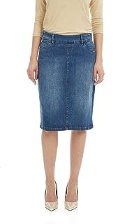 ESTEEZ Women's Jean Skirt - Modest - Straight Cut Knee Length - Stretch Denim - Manhattan