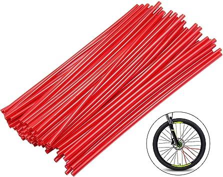 Diealles 72pcs Motorrad Fahrrad Radschutz Dekor Speichen Wraps Felgen Haut Abdeckung Für Geländewagen Fahrrad Off Road Dirty Bike Rot Auto