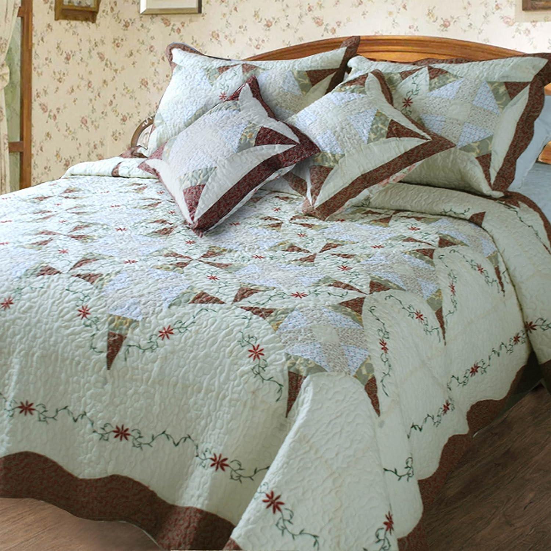 DaDa Bedding DXJ101567-2 Classic Cotton 3-Piece Quilt Set, Twin, Patchwork, Ivory