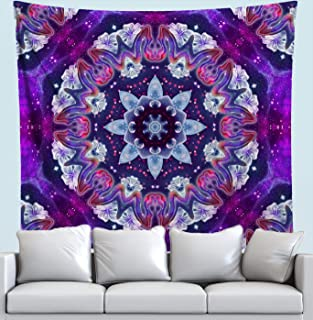 Sonic Blossom Tapestry- Mandala Wall Hanging- Flower Wall Decor- Psychedelic Art Tapestry by Lucid Eye Studios- Premium Large Tapestry 51x58 Inches