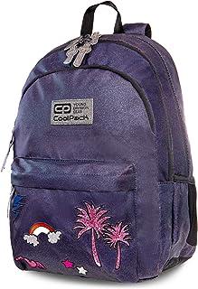 Mochila Escolar Juvenil Morral de la Escuela Las niñas Primer Mochila Tech Bag Cancum-Patrón 24 L Hippie Sparkling Badges Jeans [006]